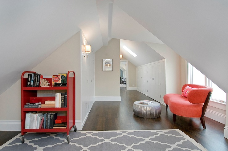 girl's rooms - Benjamin Moore - Apparition - Roost Pasha Coffee Table Horchow Pemberton Rug attic greige walls coral modern sofa red rolling library cart gray Moorish tiles rug