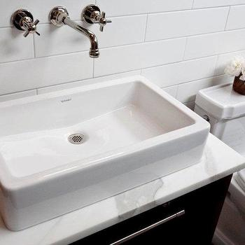 Cardea Building Co. - bathrooms - polished nickel, wall-mount, faucet, subway tiles, backsplash, custom, modern, walnut, single, bathroom vanity, marble, top, subway tile, white subway tile, white subway backsplash, white subway tile bathroom, Duravit Vessel Sink,