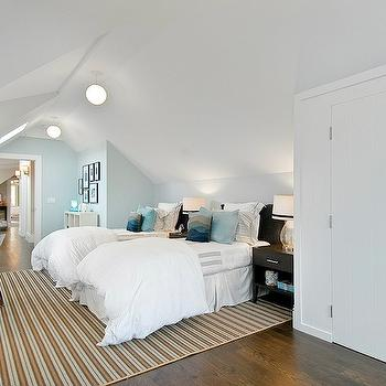 Cardea Building Co. - boy's rooms - attic, blue, walls, twin, wood, ebony, headboards, ebony, wood, nightstands, blue, pillows, white, brown, striped, rug, walk-in, closet, boys room paint colors, blue boys room, bleu boys room paint colors, blue boys room ideas,