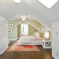 Cardea Building Co. - girl's rooms - attic, skylights, pink, green, bedding, green, Greek key, pillow, glossy, white, lacquer, cube, nightstands, Schoolhouse Electric & Supply Co. Newbury Surface Mount Light, Ballard Designs Stevenson Headboard,