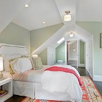 Cardea Building Co. - girl's rooms - green, pink, bedding, green, Greek key, pillow, fuchsia, throw, white, open, cube, nightstand, green, walls, Schoolhouse Electric & Supply Co. Newbury Surface Mount Light, Ballard Designs Stevenson Headboard, Moroccan Pouf - Silver Leather,