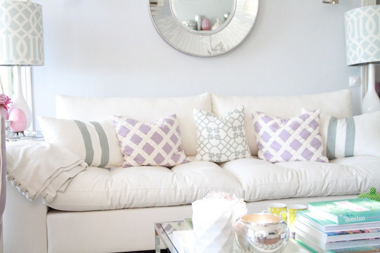 Ivory tufted sofa contemporary living room ana antunes for Lilac living room walls