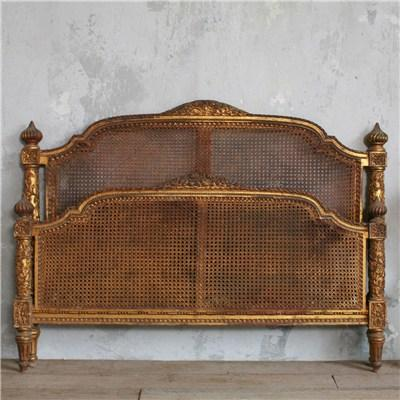Beds/Headboards - One of a Kind Vintage Cane Headboard Gold Gilt - vintage, cane, headboard