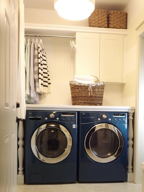 Mini Manor - laundry/mud rooms - LG Washer & Dryer Bahama Blue, Ikea Pragel Countertop, Ikea Adel Cabinet, beadboard, backsplash, woven, baskets, MDF, shelf, woven, baskets, white, baluster, legs, ikea cabinets, ikea adel cabinets, ikea laundry room cabinets,