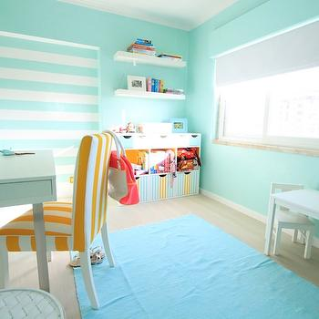 Ana Antunes - girl's rooms - white, yellow, striped, chair, ocean, blue, rug, chunky, white, floating shelves, white, desk, aqua girls room, aqua girls bedroom, turquoise girls room, turquoise girls bedroom,