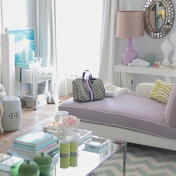 Ana Antunes - living rooms - gray, walls, lilac, purple, modern, chaise lounge, white, piping, white, green, zebra, pillow, oval, mirror, glossy, purple, lamp, glossy, white, lacquer, console, table, ivory, teal blue, chevron, rug, mirrored, coffee table, turquoise, blue, Louis, chair, white, garden stool, fiddle leaf fig, plant, purple lounge, purple chaise lounge,