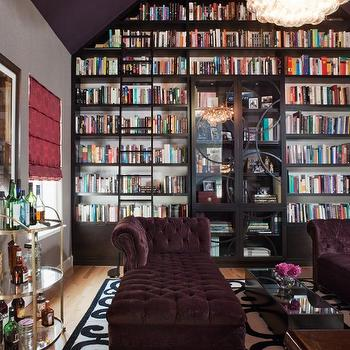 Lizette Marie Interiors - dens/libraries/offices - gray, walls, purple, ceiling, gold, bar cart, white, black, scroll, rug, purple, velvet, chaise lounges, espresso, brown, built-ins, built in cabinets, built-in bookcases, espresso built in bookcases, espresso built ins, library bookcases, library built ins, library built in bookshelves, library built in bookcases, floor to ceiling built-ins, floor to ceiling built in cabinets, floor to ceiling built in bookcase, built in bookshelves, bookshelves,