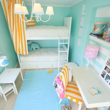 Ana Antunes - girl's rooms - turquoise, blue, walls, white, bunk beds, white, yellow, striped, curtains, ocean, blue, rug, layered, beige, carpet, white, modern, desk, metal, legs, chunky, white, floating shelves, white, yellow, stripe, chair, aqua girls room, aqua girls bedroom, turquoise girls room, turquoise girls bedroom, bunk bed curtains, bunk bed drapes,