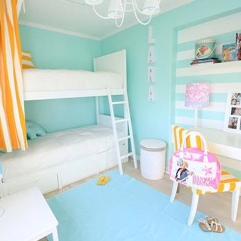 Ana Antunes - girl's rooms - white, yellow, curtains, white, bunk beds, turquoise, blue, striped, walls, ocean blue, rug, layered, carpet, white, desk, metal, legs, white, yellow, stripes, chair, aqua girls room, aqua girls bedroom, turquoise girls room, turquoise girls bedroom, bunk bed curtains, bunk bed drapes,