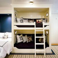 Hutker Architects - boy's rooms - glossy, beadboard, ceiling, built-in, beadboard, twin, beds, navy blue, accent wall, white hotel bedding, navy blue, stitching, tan, blue, rug, bunk beds, built in bunk beds, boys bunk beds,