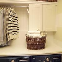 Mini Manor - laundry/mud rooms - beadboard, backsplash, woven, baskets, MDF, shelf, woven, baskets, ikea cabinets, ikea adel cabinets, ikea laundry room cabinets, LG Washer & Dryer Bahama Blue, Ikea Pragel Countertop, Ikea Adel Cabinet,