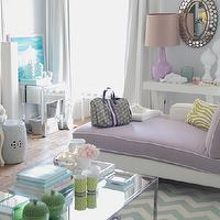 Ana Antunes - living rooms - gray, walls, lilac, purple, modern, chaise lounge, white, piping, white, green, zebra, pillow, oval, mirror, glossy, purple, lamp, glossy, white, lacquer, console, table, ivory, teal blue, chevron, rug, mirrored, coffee table, turquoise, blue, Louis, chair, white, garden stool, fiddle leaf fig, plant,