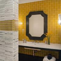 Lizette Marie Interiors - bathrooms - zinc, clipped corners, mirror, yellow, glass, tiles, backsplash, ebony, bathroom vanity, marble, countertop, linear, marble, stacked, tiles, yellow, glass, inset, decorative, tiles,