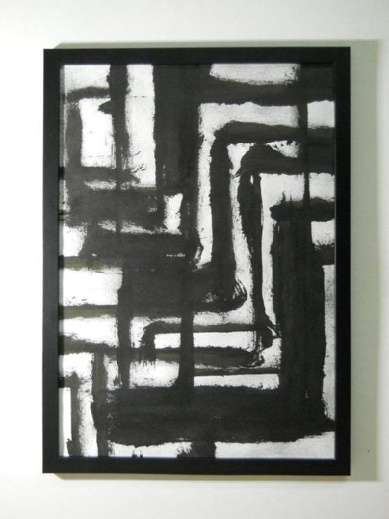 Art/Wall Decor - Black and White OOAK Contemporary Original Abstract by Manjuzaka - black, white, abstract, art, horses, art