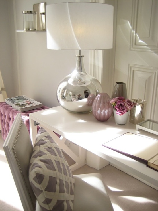 Ana Antunes - dens/libraries/offices - gray, walls, plum, velvet, tufted, ottoman, white, modern, desk, white, French chair, gray, leather, silver, nailhead trim, mercury glass, lamp, plum, gray, glass, vase, gray and purple office,