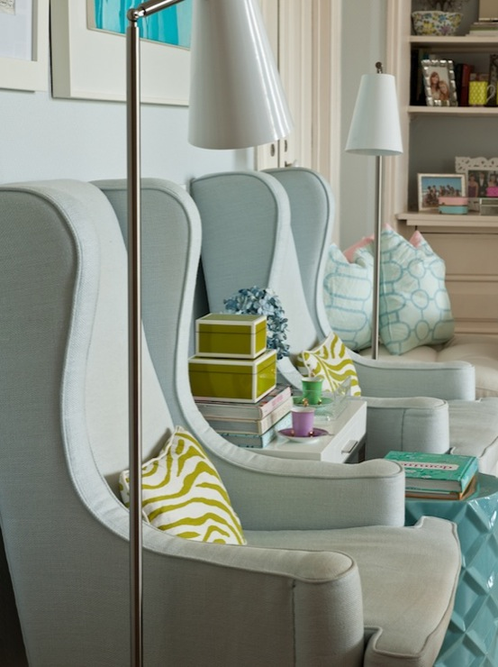 Blue Wingback Chair Contemporary Living Room Ana Antunes