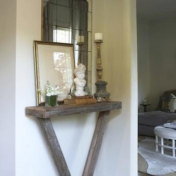 Dana Wolter Interiors - entrances/foyers - V, salvaged, wood, console, table, gold, frame, mirror, wood, candle holder, v table, v console table, v accent table,