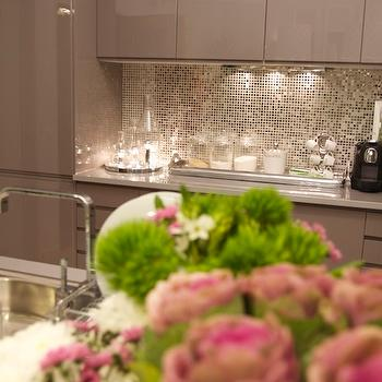 Ana Antunes - kitchens - metallic, mosaic, tiles, backsplash, glossy, taupe, lacquer, kitchen cabinets, pink, green, accents. gray lacquer cabinets, gray lacquer kitchen cabinets, gray lacquered cabinets, gray lacquered kitchen cabinets,