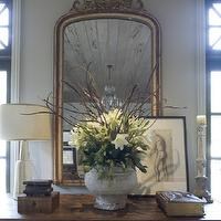 Dana Wolter Interiors - entrances/foyers - gold, ornate, mirror, wood, baluster, console, table, pale, yellow, glass, lamp, decorative, boxes, wood, candle holder,