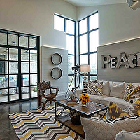 Cornerstone Group Architects - living rooms - gray, walls, peace, metal, art, white, modern, sofas, industrial, coffee table, wood twigs, lamp, chevron rug, yellow chevron rug, yellow and gray chevron rug, DwellStudio Zig Zag Citrine Rug, DwellStudio Batavia Citrine Pillow, DwellStudio Ikat Trellis Citrine,