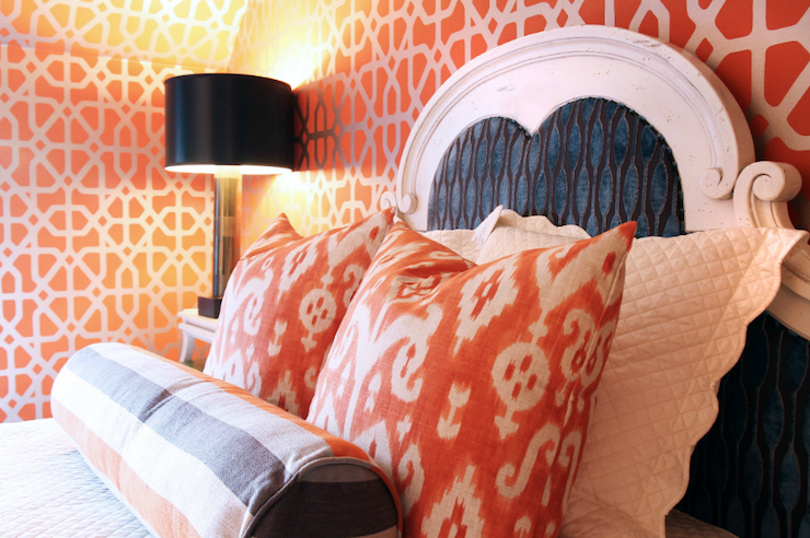 girl's rooms - orange ikat pillows French bed orange gray bolster pillow metallic orange geometric pattern wallpaper black column lamp  Fantastic