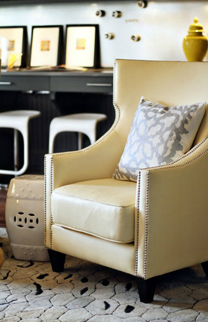 yellow wingback chair  contemporary  living room  lucy