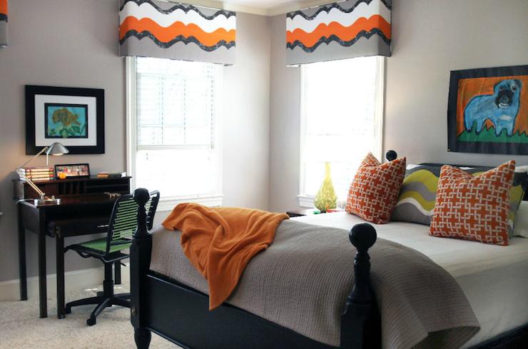 Gray And Orange Boys Room Contemporary Boy S Room