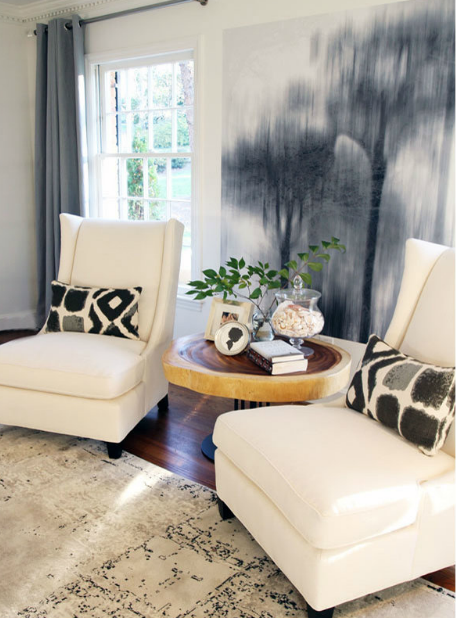 Suzie: Lucy and Company - Chic living room design with slate blue grommet curtains window ...