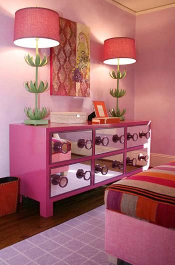 Lucy and Company - girl's rooms - Stray Dog Designs Sam Buffet Lamp, pink, linen, bed, pink, walls, hot pink, mirrored, dresser, lilac, rug, mirrored dresser, pink mirrored dresser, pink dresser,