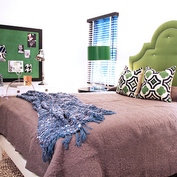 Lucy and Company - girl's rooms - green, black, bulletin board, glossy, white, lacquer, 3 drawer, sawhorse, desk, green, tufted, headboard, blanket, green, black, pillows, clear, glass, gourd, lamp, emerald, green, lamp shade, kelly green headboard, green tufted headboard, Kartell Ghost Chair, Stray Dog Designs Esme Glass Lamp,