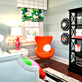 Lucy and Company - girl's rooms - gray, horizontal, striped, walls, black, octagon, mirrors, black, bookcase, orange, modern, chair, gray, bed, nailhead trim, pink, lamp, green, blue, pillows, roman shades, Crunchberry Lamp, Stray Dog Designs Crunchberry Lamp - Pink,