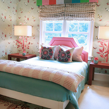 Lucy and Company - girl's rooms: red, white, rug, green, pink, red, gray, blue, striped, cornice, box, pink, headboard, nailhead trim, red, parsons, tables, nightstands, red, gingham, pillows, turquoise, blue, bedding, white, red, rug, pink, lamps, green, butterfly, wallpaper, pink headboard,