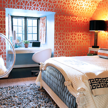 Lucy and Company - girl's rooms - metallic, orange, geometric, pattern, wallpaper, built-in, floating, desk, nook, painted, blue, French, bed, tan, black, Greek key, throw, orange, ikat, pillows, blue, gray, orange, bolster, pillow, black, lamp, bubble hanging chair, orange wallpaper, trellis wallpaper, orange trellis wallpaper, acrylic bubble chair, acrylic bubble hanging chair, Ikea SKRUVSTA Swivel Chair - Idhult white, ero Aarnio 1968 Bubble Hanging Chair,