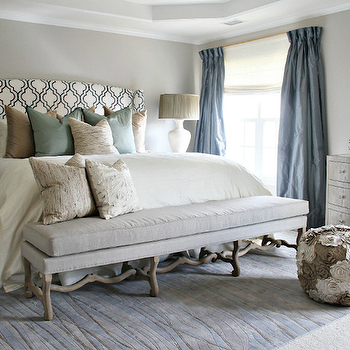 Lucy and Company - bedrooms - silk, blue, pinch-pleat, drapes, gray, walls, white, black, Moorish tiles, fabric, upholstered wingback, headboard, blue, green, taupe, silk, pillows, twigs, gray, linen, bench, trellis headboard, black and white headboard, geometric headboard, black and white trellis headboard, Arteriors Alana Ottoman Flower Pouf, Worlds Away Natalie Limed Oak Bow Front Dresser, Robert Kaufman House Designer - Metro Living - Tiles in White,