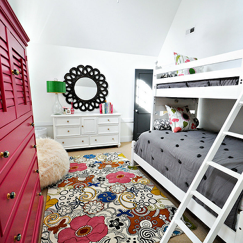 Fun girls' bedroom with white bunk beds, gray bedding, pink & green floral ...