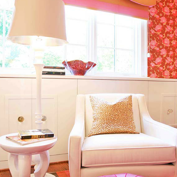 Lucy and Company - girl's rooms - white, curvy, chair, white, floor lamp, multi-color, striped, rug, wall, white, built-in, cabinets, pink, orange, carved, cornice box, pink, red, wallpaper, lola side table, Arteriors Lola Side Table - White, Moroccan Leather Pouf - Fuchsia,