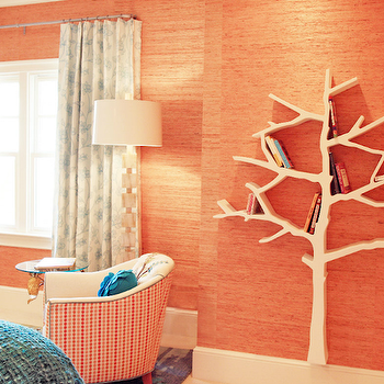 Lucy and Company - girl's rooms: orange, grasscloth, wallpaper, horn, cube, floor lamp, white, blue, floral, sheers, tree bookcase, white tree bookcase, nursery tree bookcase, tree bookshelf, white tree bookshelf, orange grasscloth, orange grasscloth wallpaper,