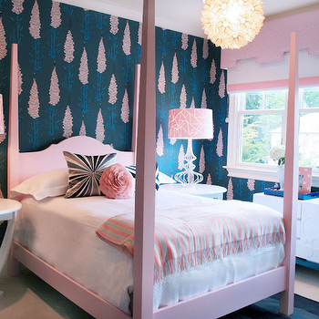 Gorgeous pink & blue girl's bedroom with pink & blue wallpaper, pink poster bed, ...
