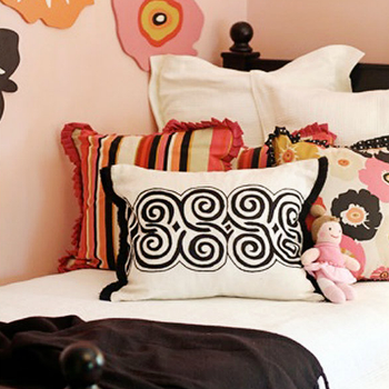 Lucy and Company - girl's rooms - pink, walls, colorful, flower, wall decals, glossy, black, twin, bed, black, throw, pink, black, floral, pillow, white, black, linen, pillow, multi-color, striped, fringe, pillows, pink and black girls room, pink and black girls bedroom,