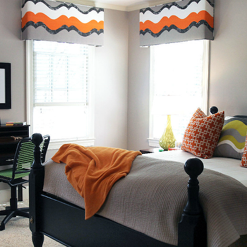Lucy and Company - boy's rooms - gray, walls, gray, orange, cornice boards, black, poster, bed, orange, overlapping squares, pillows, gray, green, wavy, pillows, orange, throw, gray, blanket, black, desk, black, green, task, chair, boys room, boys bedroom, orange and gray boys bedroom, orange and gray boys room,