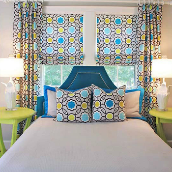 Lucy and Company - boy's rooms - gray, yellow, blue, geometric, print, pattern, pillows, drapes, roman shades, peacock, blue, velvet, headboard, silver, nailhead trim, neon, green, round, tables, nightstands, green, bench, bed in front of window, beds in front of window, blue headboard, blue velvet headboard, green nightstands, blue and green girls room, blue and green girls bedroom, Stray Dog Designs Courtney Pendant,