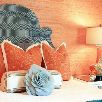 Lucy and Company - girl's rooms: orange, turquoise, blue, chinoiserie, lamp, orange, grasscloth, wallpaper, teal, blue, ivory, headboard, orange, shams, baby blue, felt, flower, pillow, orange grasscloth, orange grasscloth wallpaper,