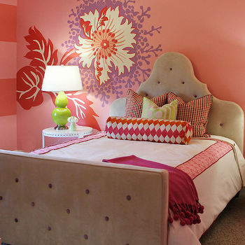 Gorgeous pink and beige girl's bedroom with pink walls paint color, wall decals, ...