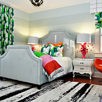 Eclectic girl's bedroom with horizontal striped walls painted gray, green & blue ...