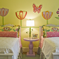 Lucy and Company - girl's rooms - lilac, pedestal, table, white, twin, beds, green, walls, hot pink, bolster, pillows, flower, wall decals, shared nightstand, pink table, pink, accent table, girls shared nightstand, pink bedside table, pink nightstand, Stray Dog Designs Sarah Lamp in Douglas Fir,