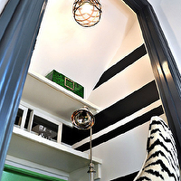 Gorgeous black & green closet transformed into office with glossy black door moldings, ...