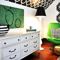 Fantastic green & black living room with white vintage dresser, white & black striped ...