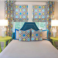 Lucy and Company - boy's rooms - gray, yellow, blue, geometric, print, pattern, pillows, drapes, roman shades, peacock, blue, velvet, headboard, silver, nailhead trim, neon, green, round, tables, nightstands, green, bench, bed in front of window, beds in front of window, Stray Dog Designs Courtney Pendant,