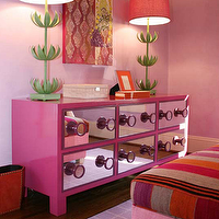 Hot pink &amp; green girl&#039;s bedroom with Stray Dog Designs Sam Buffet Lamps, hot pink ...