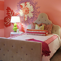 Gorgeous girl's bedroom with pink walls paint color, wall decals, Worlds Away Nora ...